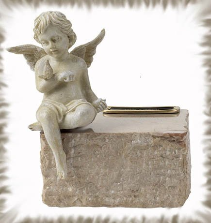 Genuine marble with angel keepsake / Infant urn (Cream Marble with Angel)