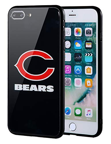 Sportula NFL Phone Case - 9H Tempered Glass Back Cover and Silicone Rubber Bumper Frame Compatible Apple iPhone 8 Plus / 7 Plus (Chicago Bears)