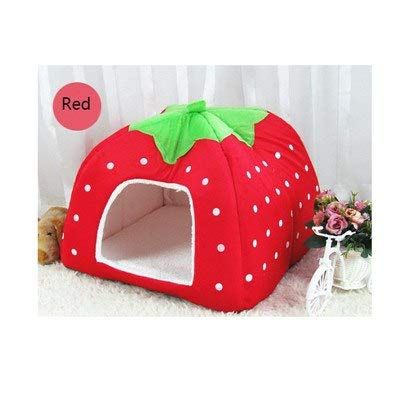 (Pet Dog House for Dogs for Small Dog Foldable Cat Dog Kennel Houses Strawberry Shape Doghouse Nest Bed Supplier Pet Shop)