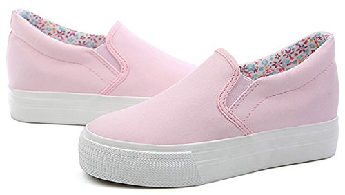 Platform Loafers Pink On Heels Canvas Slip Womens With Wedge Fashion Inside Sneakers IDIFU SwapCp