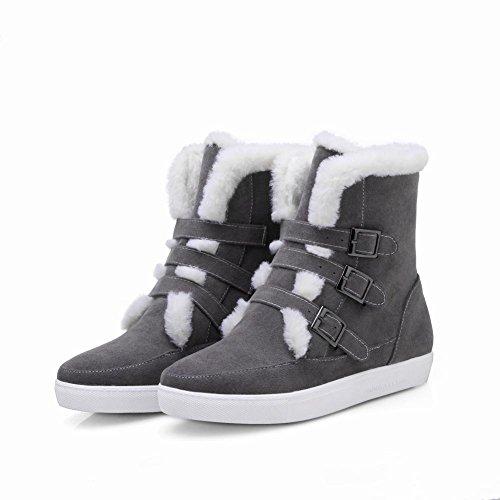 Carolbar Donna Multi Fibbia Faux Fur Comfort Stivali Da Neve Tacco Nascosti Grigi