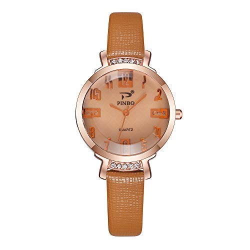 Fashion Color Strap Digital Dial Leather Band Quartz Analog Wrist Watches,Outsta Wristwatch Bracelet Watch for Women Girls Gift Present (Brown)