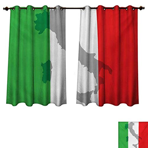 Italian Flag Blackout Thermal Curtain Panel Map View of Italy Land Chart National Country Europe Ancient Culture Patterned Drape for Glass Door Grey Red Fern Green W63 x L45 inch