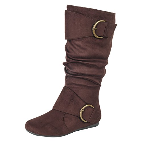 Forever Link Klein-70 Women's Closed Round Toe Buckle Slouch Flat Heel Mid-Calf (Slouch Buckle Boots)
