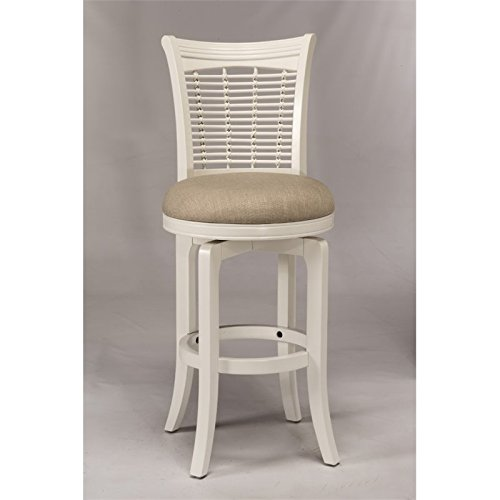 44.5 in. Swivel Barstool in White Bamboo Swivel Bar Stool
