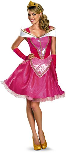 Princess Aurora Adult Costumes (Disguise Disney Deluxe Sassy Aurora Costume, Pink/White, Large/12-14)