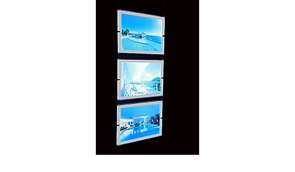 Tablón expositor para publicidad, para vitrinas, con panel de plexiglass, LED luminoso, A4 horizontal, sistema de suspensión.
