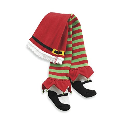[Elf Green Red Stripe JINGLE Tights 9-12 months] (Cute Elf Costumes For Kids)