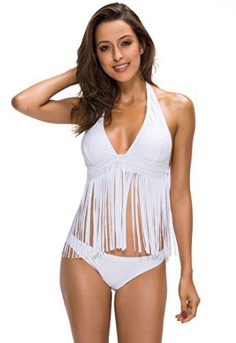 FanShou Women Halter Fringe Bikini Top Two Pieces Tassels Bikini Set Swimsuit White 8/10