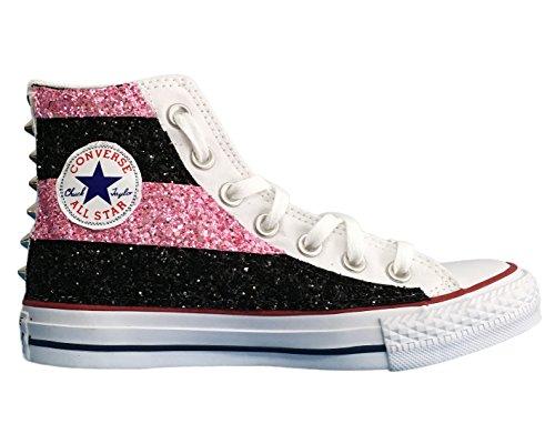 Rosa E Nero Applicazione Con Borchie Converse A Glitter Star All Strisce Di Tessuto qzpFg