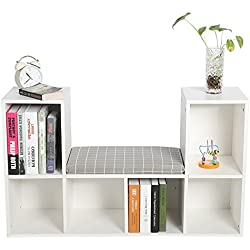 Wooden Storage Bookcase with Reading Nook and Mat,Multi-functional Wood Organizer Bookcase Storage Shelf Bookshelf for Home Office Use, White