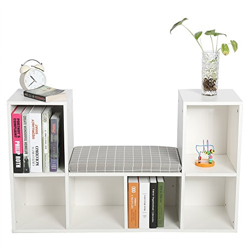 GOTOTOP Multi-functional Wooden Storage Shelf Bookshelf Bookcase with Reading Nook Home Office Use Practical New (White)