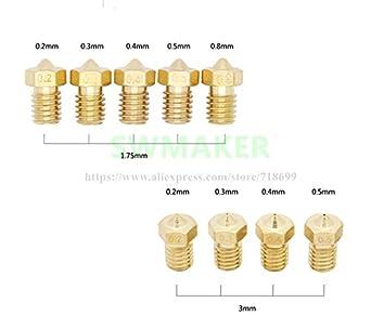 Size: 0.2 0.5mm 4pcs Nozzle for 1.75mm filament J-Head 3D printer 0.4 0.3