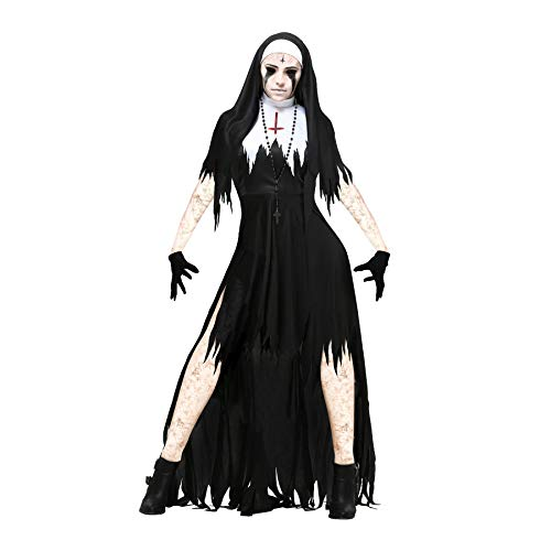 YaXuan Bloody Dress/Cosplay Costume/Women's Halloween/Carnival / Day of The Dead Festival/Holiday Halloween Costumes Black with White Vintage (Color : 1, Size : L)