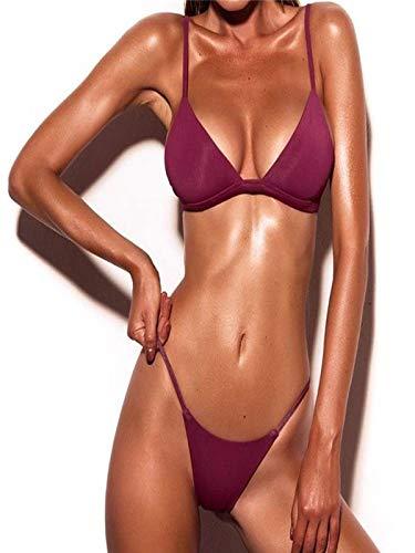 EOWEO Women Swimwear Women Push-Up Padded Bra Beach Bikini Set Swimsuit Swimwear(Large, Pink) (Boyshort Mesh Fine)