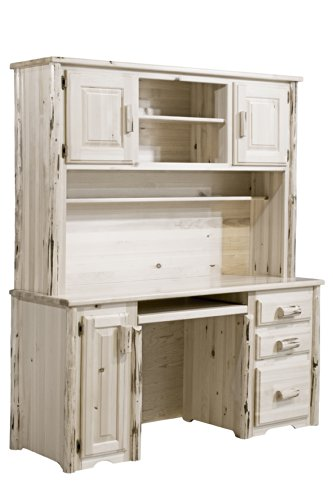 Montana Woodworks MWDHV Montana Collection Computer Desk with Hutch, Clear Lacquer Finish (Office Pine Armoire)
