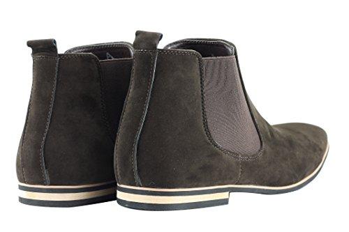 Xposed–Botas de ante Chelsea italiano estilo elegante y Casual Retro desierto concesionario Mid Tobillo Zapatos marrón