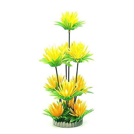 Planta artificial para acuario o pecera flores amarillas 25 cm altura: Amazon.es: Hogar
