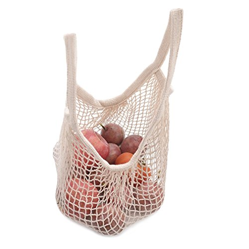 DimiDay Cotton Net Shopping Tote Ecology Market String Bag Organizer-for Grocery Shopping & Beach, Storage, Fruit, Vegetable (Small-Size(Short Handle), Natural)
