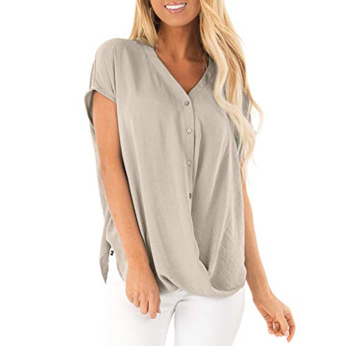 TOOPOOT Summer Tops for Women, Chiffon T Shirt Casual Loose V Neck Button Blouses Khaki ()
