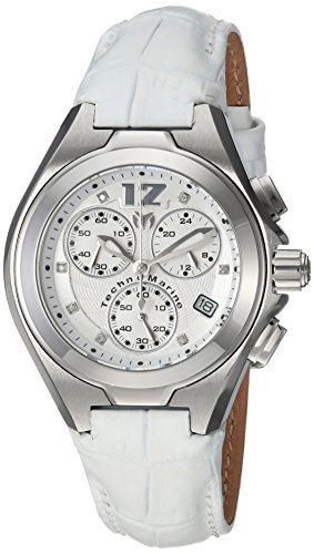 Technomarine Women's 'Manta' Quartz Stainless Steel and Leather Casual Watch, Color:White (Model: TM-215025)