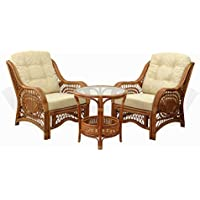 Malibu Set of 2 Natural Rattan Wicker Chairs with Cream Cushions and Round Coffee Table ECO Handmade, Cognac