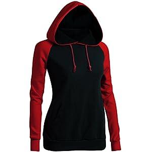 CLOVERY Women's Casual Hoodie Two-Tone Raglan Pocket Long Sleeve Hoodie