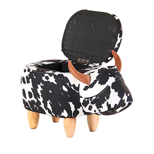 Artechworks Upholstered Ride-On Ottoman Footrest Stool with Vivid Adorable Animal-Like Features,Perfect for Gift,Changing Shoes,Decoration,Toys,with Storage (Black and White Cow) ()