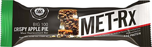 MET-Rx Big 100 Colossal Protein Bars, Great as Healthy Meal Replacement, Snack, and Help Support Energy, Gluten Free, Crispy Apple Pie, 100 g, 4 Count (Pack of 2)