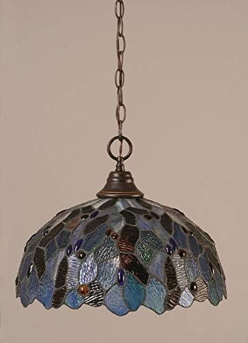 Downlight Pendant w Blue Mosaic Glass Shade