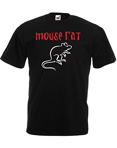 Mouse Rat, Mens Printed T-Shirt - Black/White/Red M