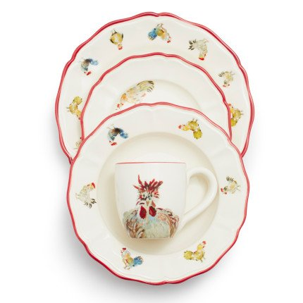 Sur La Table Jacques Pepin Collection 16-Piece Chickens Dinnerware Set 2016/87 (Chicken Dishes)