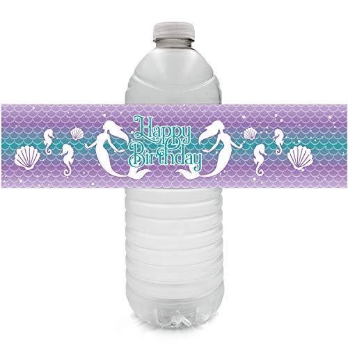 Mermaid Birthday Party Water Bottle Labels | 24 Stickers (Bottles Twenty)