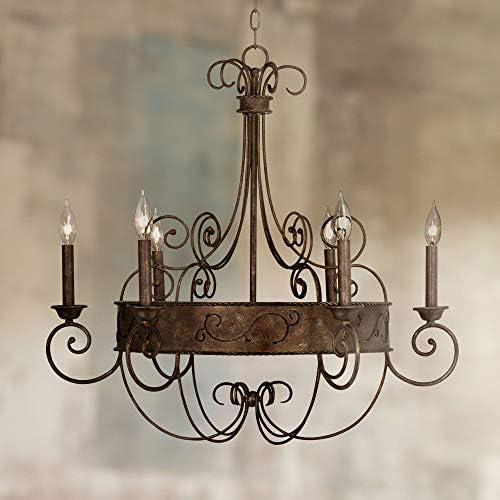 Bronze Candelabra Chandelier 30″ Wide Rustic Metal 6-Light Fixture
