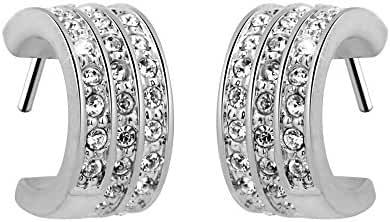 T400 Jeweler Platinum Plated Crescent Shape with Swarovski Elements Crystal White Stud Earrings Love Gift
