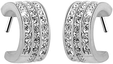 T400 Jeweler Platinum Plated Crescent Shape with Swarovski Elements Crystal White Stud Earrings
