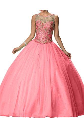 Wassermelone Abendkleid Tuell Lang Ballkleid Festkleider Ivydressing Damen Romantisch Rundkragen XAqxww1P8
