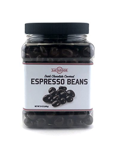 LaetaFood Dark Chocolate Covered Espresso Beans, 24 Ounces Plastic Jar