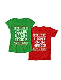 Why is The Carpet Wet Todd? Funny Christmas Matching Couples Tshirts Holiday Movie Gift for Husband and Wife TEP-634-635