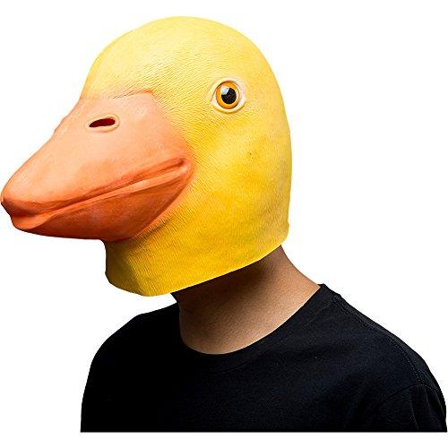 COSMOVIE Halloween Costume Cute Yellow Duck Mask Animal Head Latex Masks