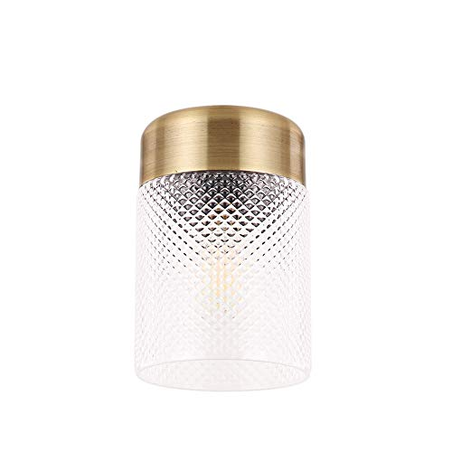 (TeHenoo Retro Industrial Ceiling Light Fixture, Glass Tube Shade Bronze Flush Mounted Light Ceiling Lighting Fixture for Living Room, Dining Room, Kitchen, Loft Art Deco, Bar, Café)