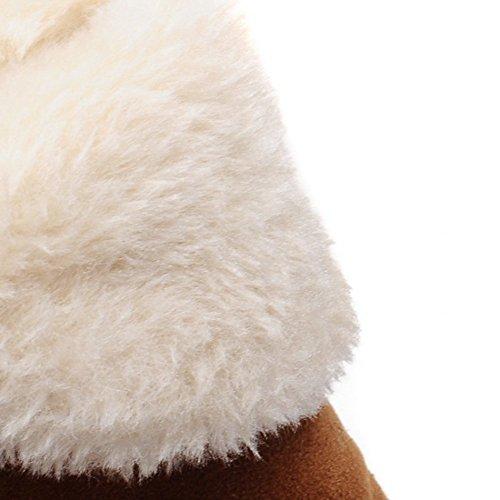 Btrada Womens Winter Warm Snow Stivaletti Full Fodera In Pelliccia Pull Su Stivaletti Antiscivolo Marrone