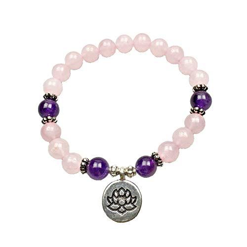 (Bracelet Rose Quartz & Amethyst Gemstone Beads Lotus Charm Heart Chakra Crown Chakra 8mm Stretch Handmade)