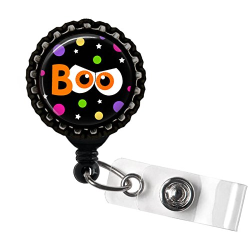 Halloween Boo Orange Eyes Black Retractable Badge Reel ID Tag Holder by Geek -