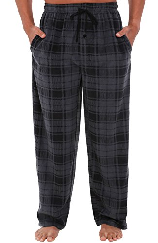 Alexander Del Rossa Mens Fleece Pajama Pants, Long Microfiber Pj Bottoms, Small Grey Plaid (Micro Fleece Plush Pants)
