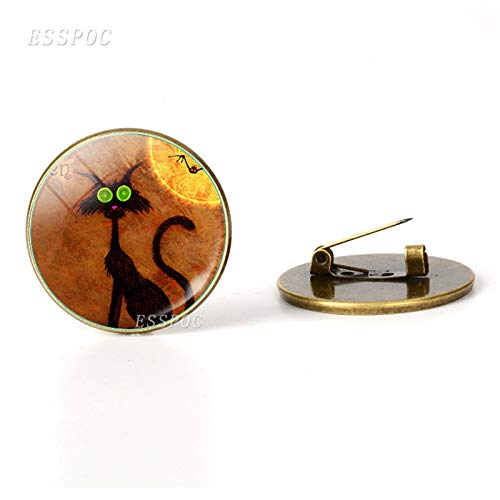 (Bugs and Hisses to You Halloween Witch Brooches Glass Cabochon Jewelry Cat Bronze Brooch Pins Bag Women Men Happy Haunting)
