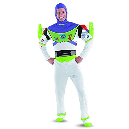 Disguise Men's Disney Pixar Toy Story and Beyond Buzz Lightyear Deluxe Costume, White/Green/Red/Purple, XX-Large (Buzz Lightyear Costume)