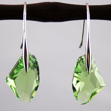 Green Crystal Galactic Vertical Silver Earrings Used Swarovski Crystals