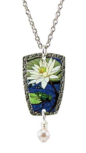 Earth Dreams Hand Painted Summer Frog Pond Pendant Necklace by