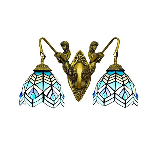 GLMAMK Retro Wall Lamp, Tiffany Style Wall Lights with Goddess Base,Blue Phoenix Design Glass Bath Mirror Lamps for Cafe Bath Club Bedroom,E27 (Style : Double Head) -